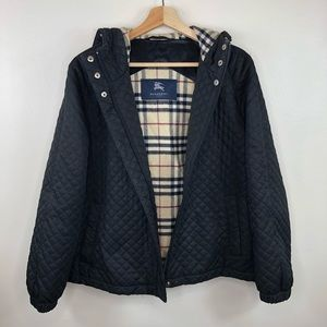 BURBERRY Black quilted wool lined jacket Sz large